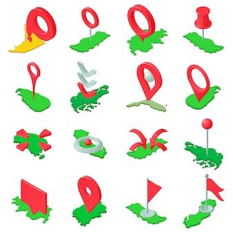 Marquer le jeu d'icônes de carte, style isométrique
