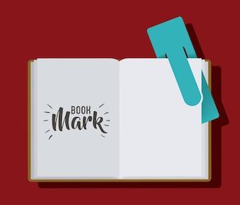 Marquer l'étiquette d'étiquette et l'icône de livre. Guide lecture décoration et thème de la littérature. Desig coloré