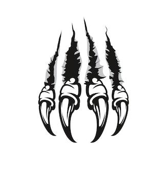 Marques et égratignures de griffes de monstre, fissures déchirées par des bêtes sauvages