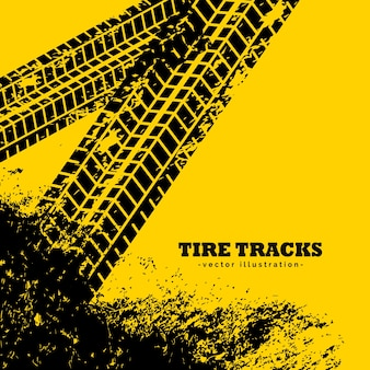 Marques de traces de pneus sur fond jaune grunge