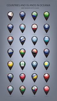 Marqueurs de carte avec des drapeaux océanie. couleurs originales.