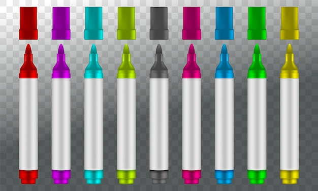 Marqueurs colorés isolés sur fond transparent