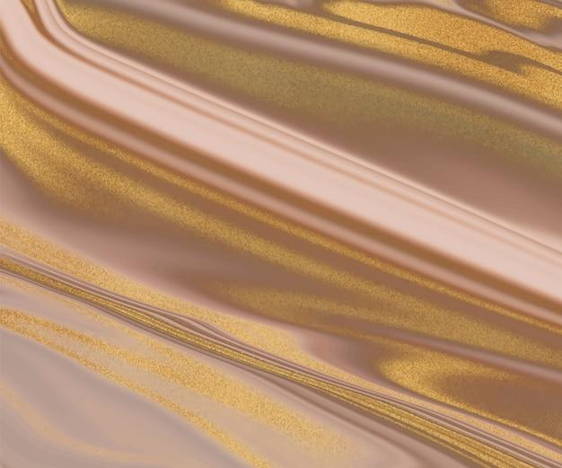 Marron avec texture de marbre liquide de paillettes dorées