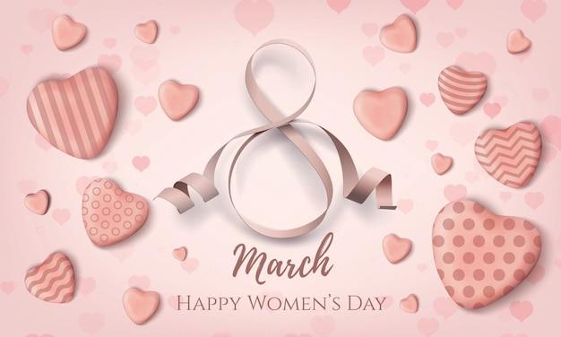 Mars, fond de la journée internationale des femmes.