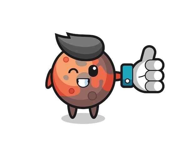 Mars mignon avec symbole de pouce levé sur les médias sociaux, design de style mignon pour t-shirt, autocollant, élément de logo