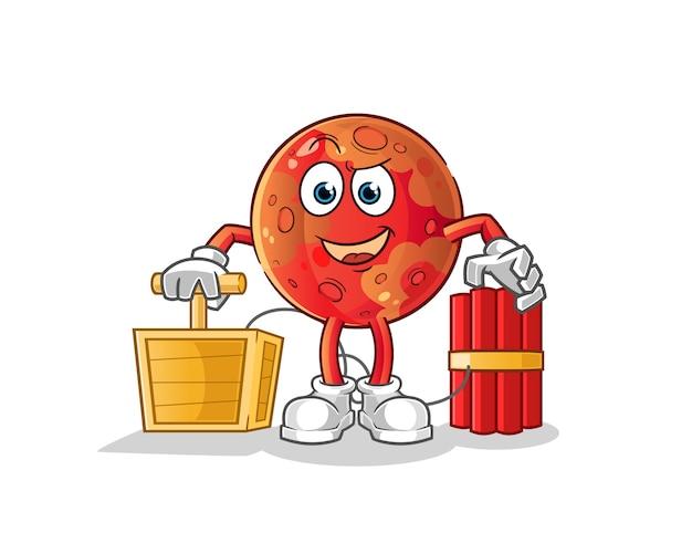 Mars tenant le personnage de détonateur de dynamite.