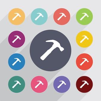 Marteau, jeu d'icônes plat. boutons colorés ronds. vecteur