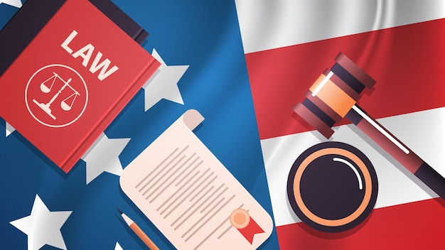 Marteau et juge livre sur usa drapeau américain inauguration présidentielle jour célébration concept carte de voeux vue d'angle supérieur illustration vectorielle horizontale