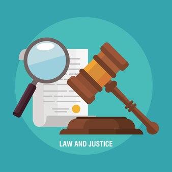 Marteau de loi avec des icônes de justice