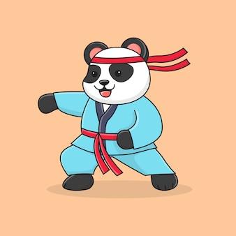 Martial Panda Mignon Avec Le Poing Vecteur Premium