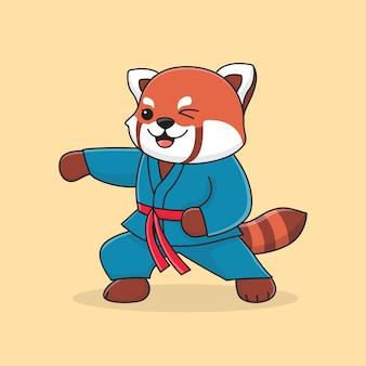 Martial panda rouge mignon avec le poing