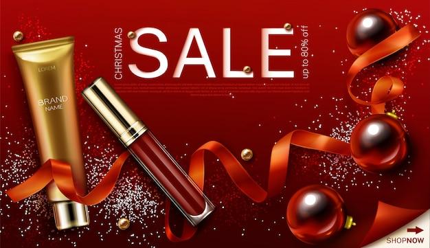 Mascara et cadeaux de cosmétiques de noël brillant à lèvres, modèle de bannière de vente de noël