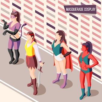 Mascarade isométrique avec des femmes portant des costumes créatifs illustration 3d