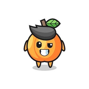Mascotte d'abricot mignonne avec un visage optimiste, design de style mignon pour t-shirt, autocollant, élément de logo