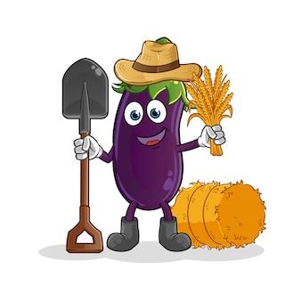 Mascotte d'agriculteur d'aubergines.