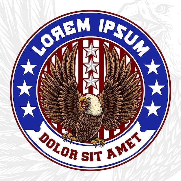 Mascotte d'aigle avec badge drapeau américain