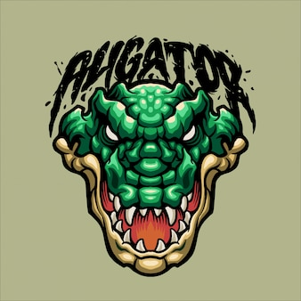 Mascotte d'aligator vert