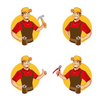 Mascotte amusante de personnage de dessin animé bricoleur
