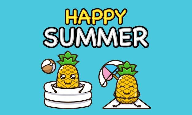 Mascotte d'ananas cool dans le modèle de bannière de vacances d'été