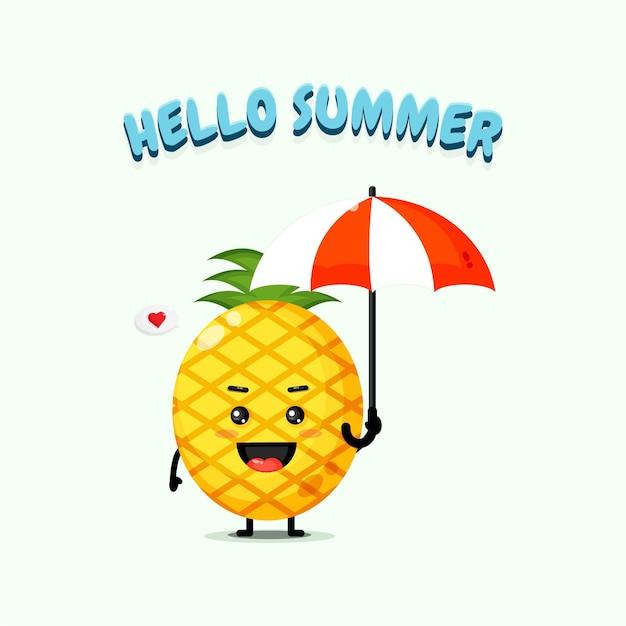 Mascotte d'ananas mignon portant un parapluie avec des salutations d'été