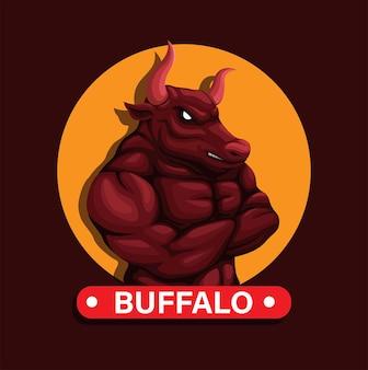 Mascotte d'animal de buffle avec le vecteur d'illustration de caractère de figure plié de bras de muscle