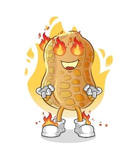 La mascotte d'arachide en feu. dessin animé