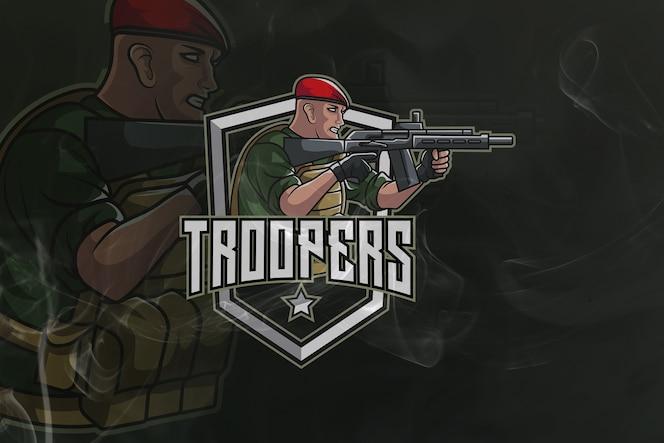 mascotte de l'armée de jeu troopers et logo esport