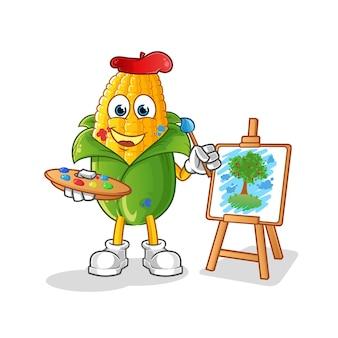 Mascotte d'artiste de maïs. vecteur de dessin animé