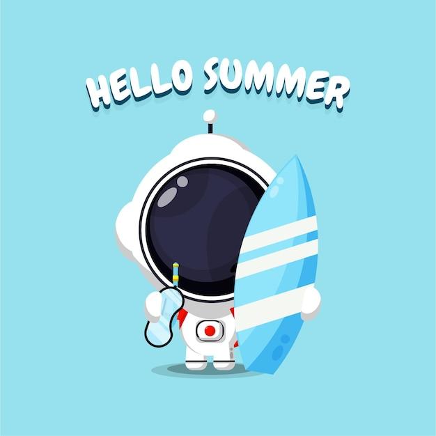 Mascotte d'astronaute mignonne portant une planche de surf avec des salutations d'été