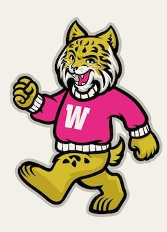 Mascotte athlétique de l'école wildcats