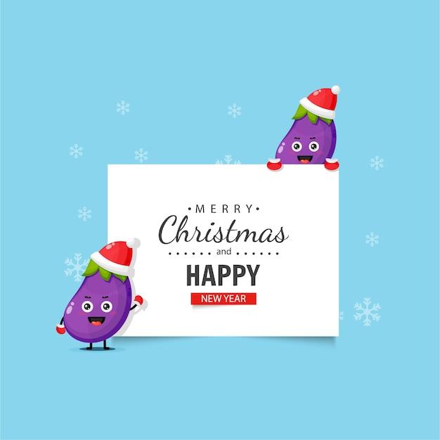 Mascotte d'aubergine mignonne avec des voeux de noël et du nouvel an