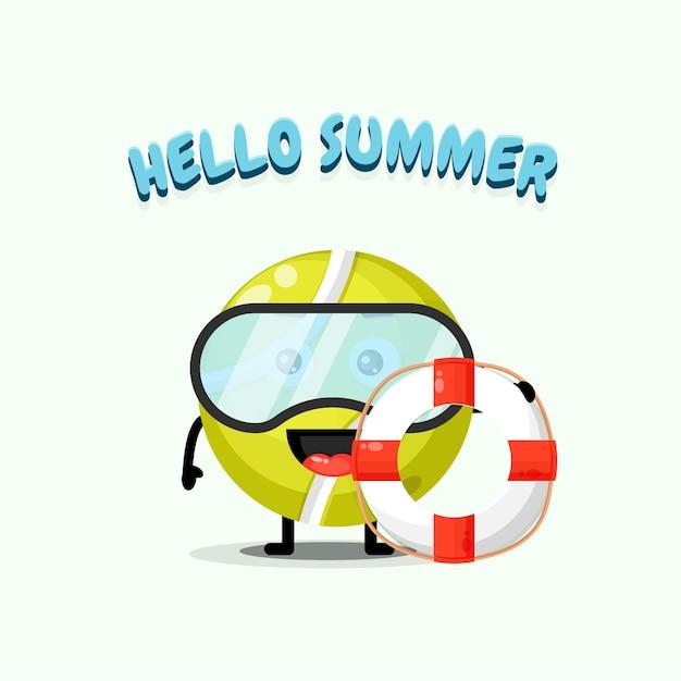 Mascotte de balle de tennis mignonne portant un char avec des salutations d'été
