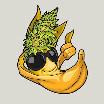 Mascotte de banane avec illustration de cheveux de chanvre vert dessinée à la main