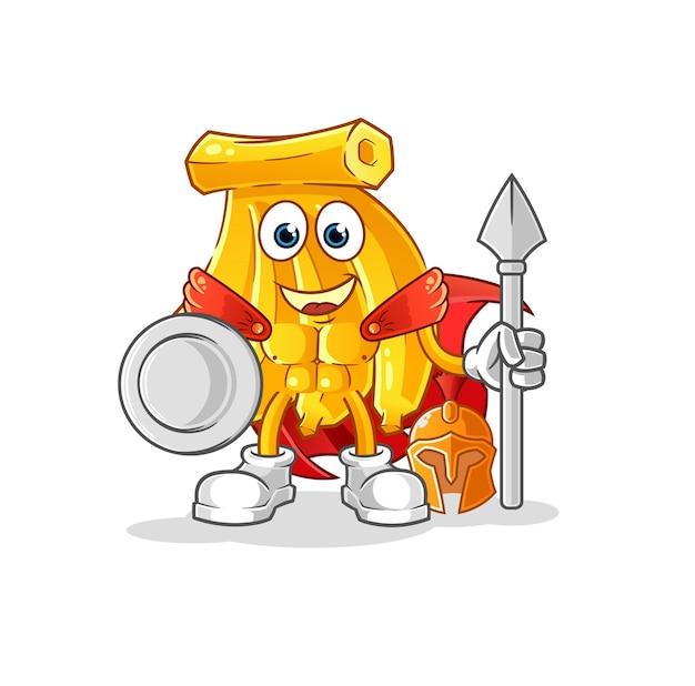 Mascotte de bande dessinée spartiate de bananes. mascotte de dessin animé