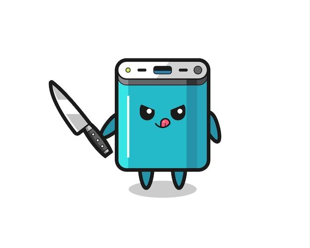 Mascotte de banque d'alimentation mignonne en tant que psychopathe tenant un couteau, design de style mignon pour t-shirt, autocollant, élément de logo