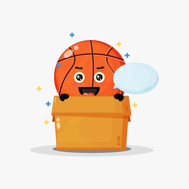 Mascotte de basket mignon dans la boîte