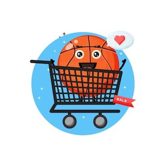 Mascotte de basket mignon dans le panier
