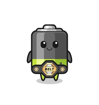 La mascotte de batterie de combat mma avec une ceinture, un design de style mignon pour un t-shirt, un autocollant, un élément de logo