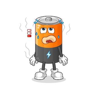 Mascotte de batterie faible. dessin animé