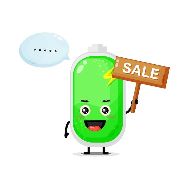 Mascotte de batterie mignonne avec le signe des ventes