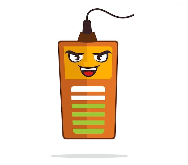 Mascotte de la batterie souriante tout en chargeant à l'électricité