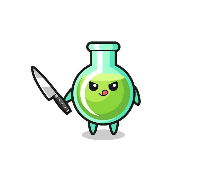 Mascotte de béchers de laboratoire mignon en tant que psychopathe tenant un couteau, design de style mignon pour t-shirt, autocollant, élément de logo