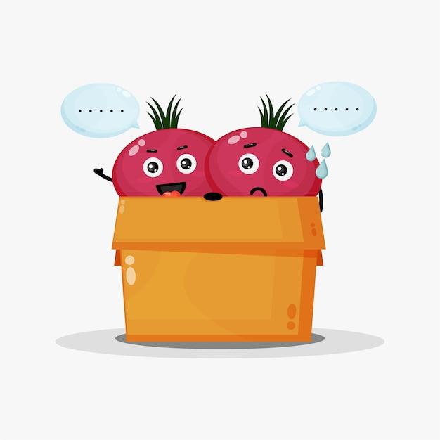 Mascotte de betterave mignonne dans la boîte
