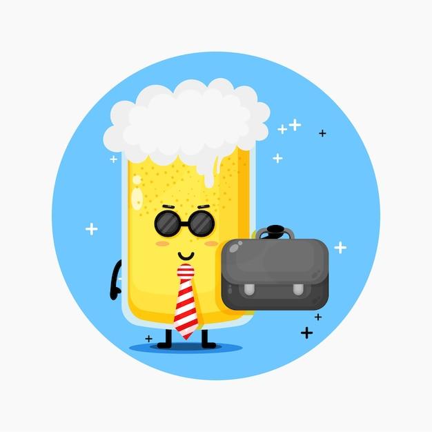 Mascotte de bière employé de bureau mignon