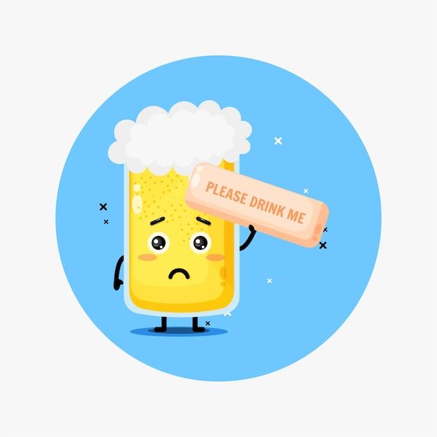 Mascotte de bière mignonne. s'il te plait bois moi