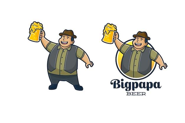 Mascotte de bière rétro big papa
