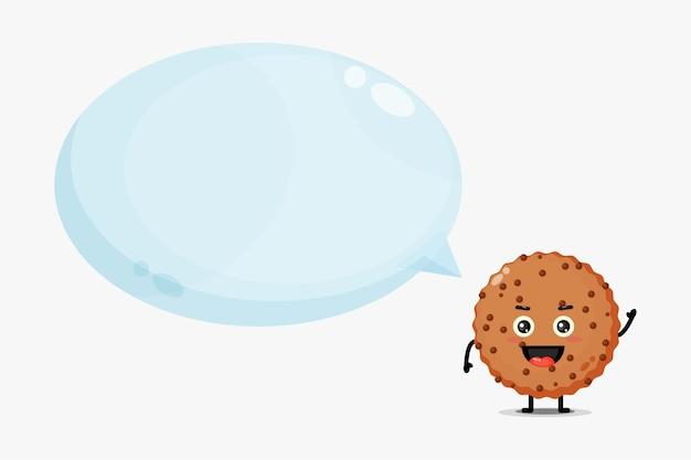 Mascotte de biscuit au chocolat mignon avec discours de bulle