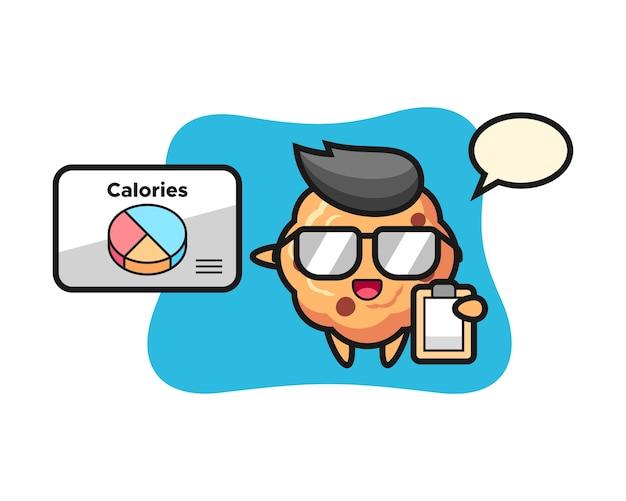 Mascotte de biscuit aux pépites de chocolat en tant que diététiste