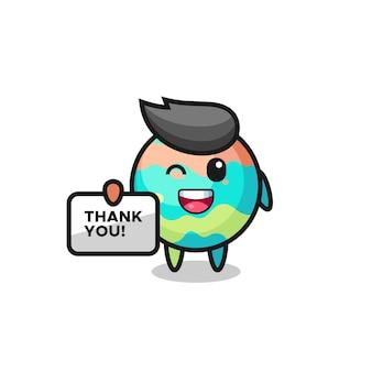 La mascotte des bombes de bain tenant une bannière qui dit merci, design de style mignon pour t-shirt, autocollant, élément de logo