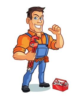 Mascotte de bricoleur cartoon transportant une clé et montrant le pouce vers le haut
